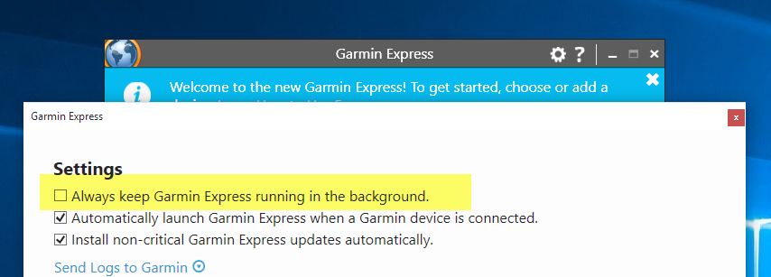 Garmin Express Settings
